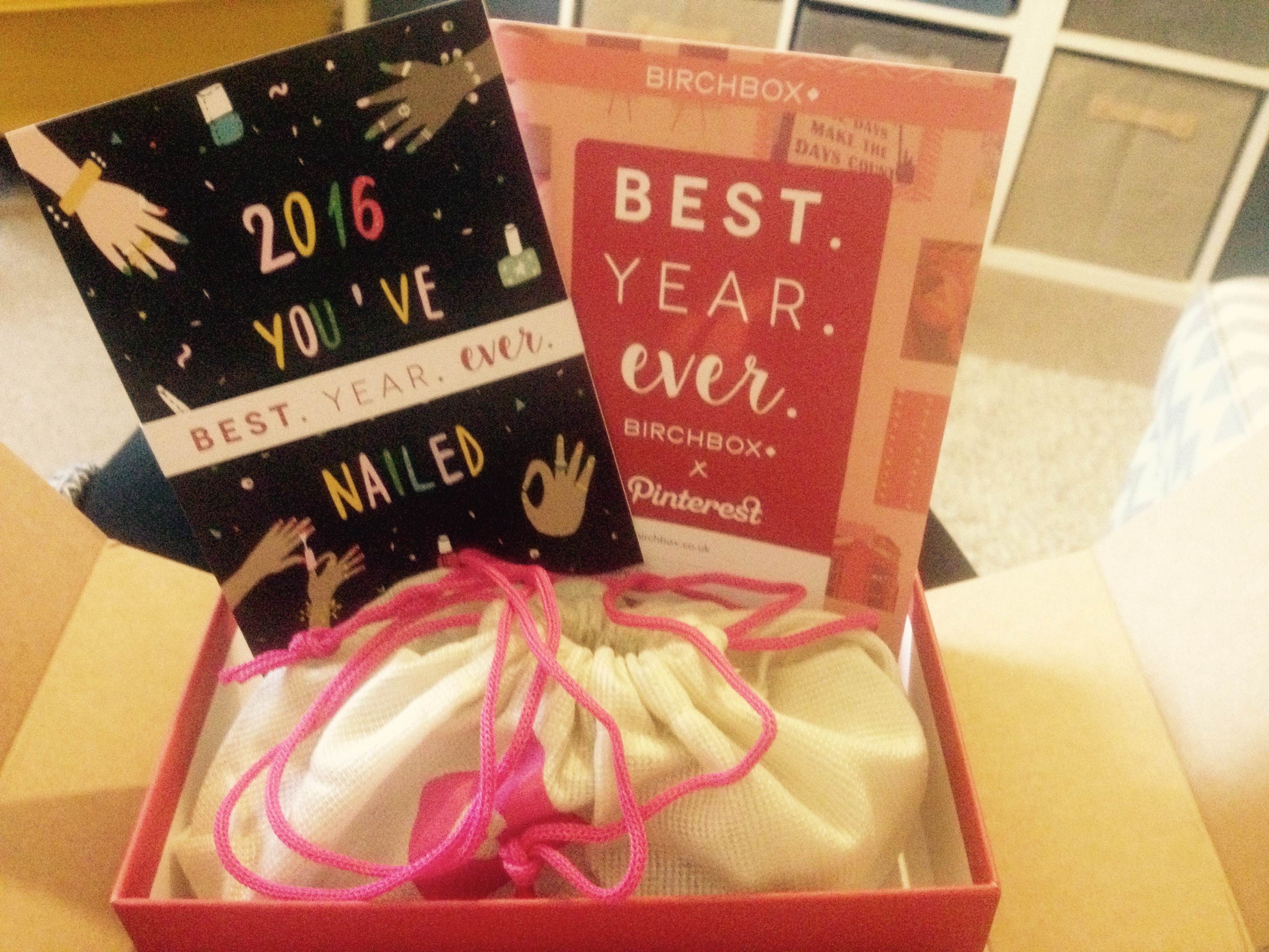 Birchbox beauty subscription with Pinterest for January 2016 best year ever with postcards