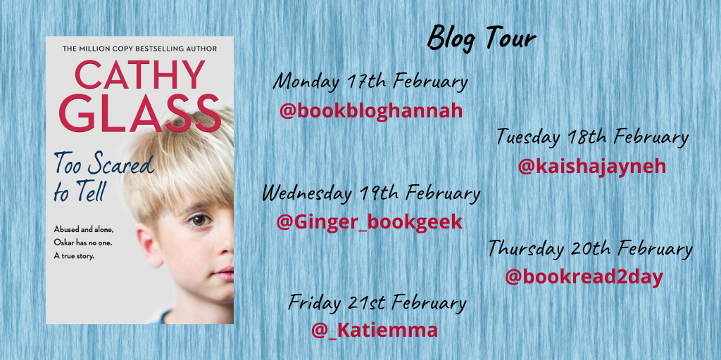 Too Scared to Tell by Cathy Glass blog tour poster @Katiemma